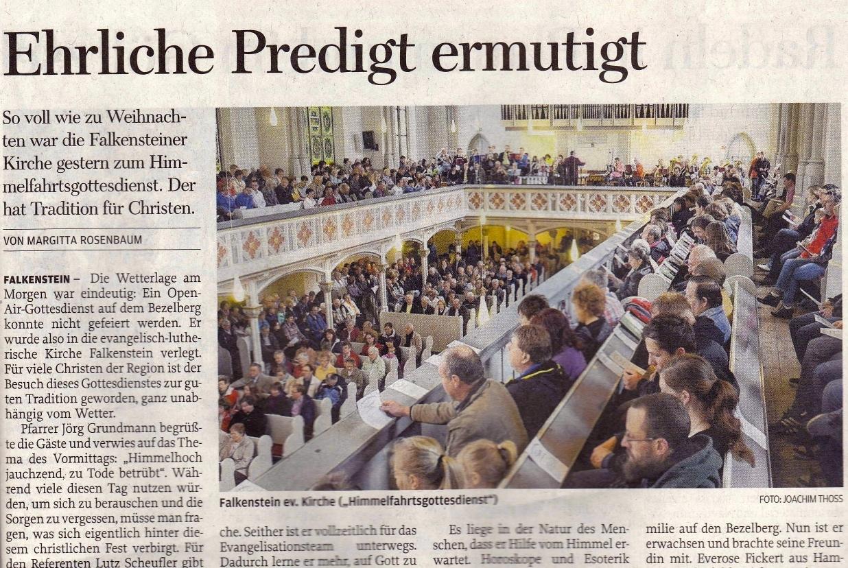 Zeitungsartikel Himmelfahrtsgottesdienst Falkenstein