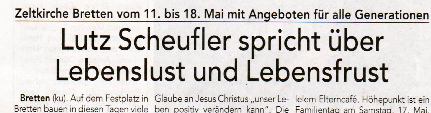 Zeitungsartikel Zeltkirche Bretten